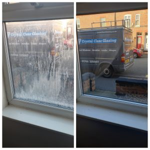 misted window before & after